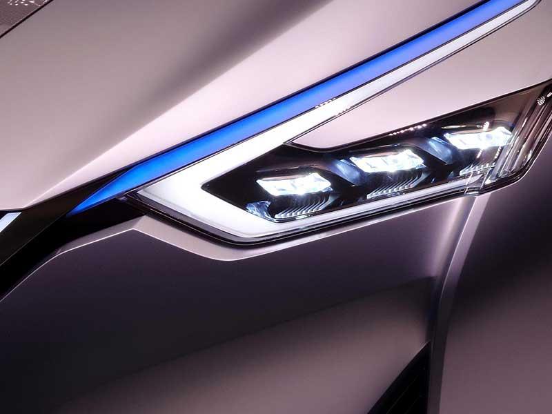 grey car headlights